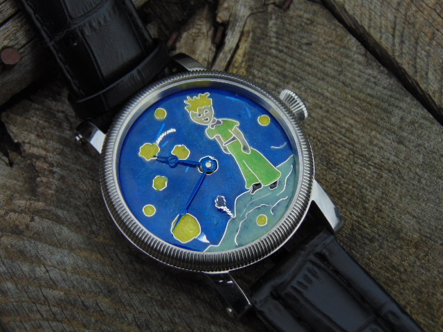 Maly Książe - enamel cloisonne watch dial. Diameter 36 mm. Silver.