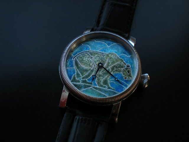 Bear enamel cloisonne dial watch.
