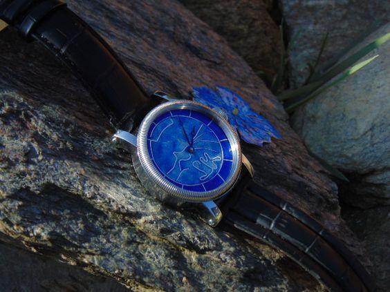 Hand guilloche + enamel cloisonne watch dial.